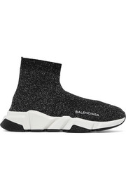 Balenciaga Speed metallic stretch-knit high-top sneakers