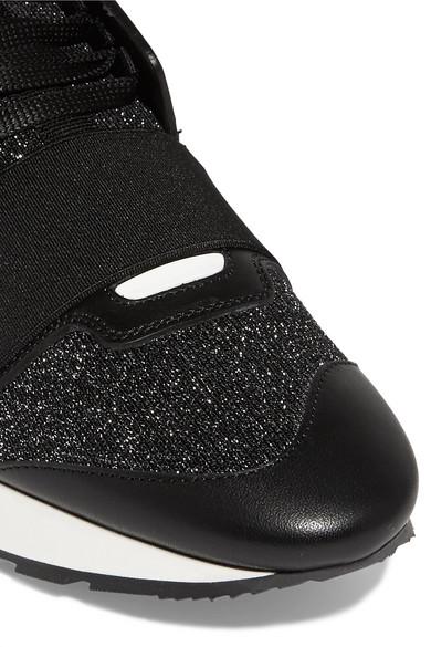 Balenciaga Race Runner Sneakers aus Stretch-Strick in Metallic-Optik und Leder
