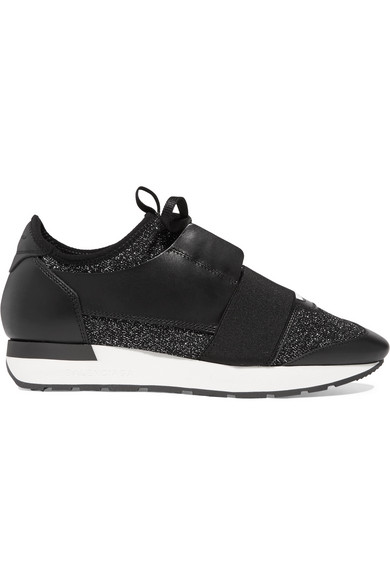 RACE RUNNER METALLIC STRETCH-KNIT AND LEATHER SNEAKERS