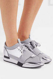 Race Runner metallic leather, mesh and neoprene sneakers