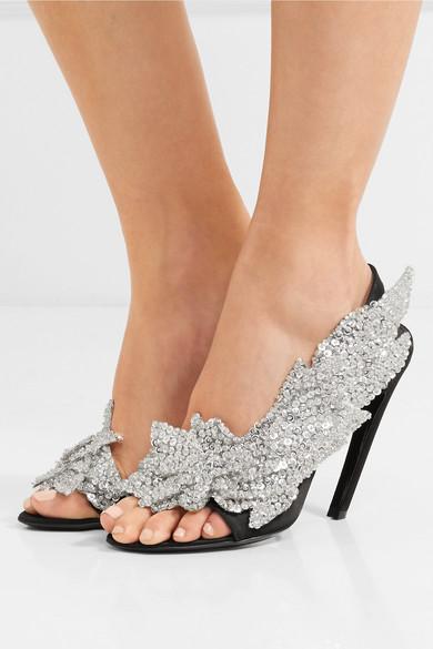 Balenciaga | Talon Satin Slash Slingback-Sandalen aus Satin Talon mit Paillettenverzierung 3210db