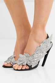 Sequin-embellished satin slingback sandals