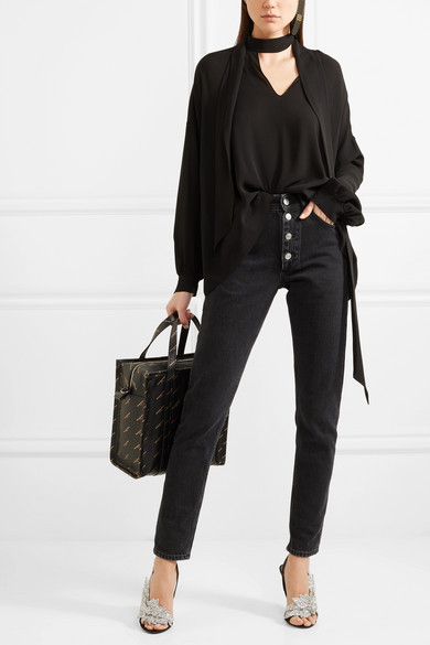 4b6a7fe4070d Balenciaga. Talon Slash sequin-embellished satin slingback sandals