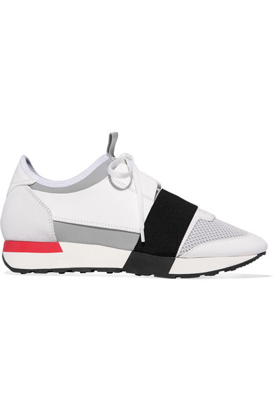 Race Runner Leather, Neoprene, Suede And Mesh Sneakers Balenciaga