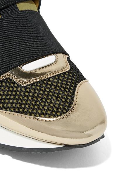 Balenciaga Race Runner Sneakers aus Metallic-Leder, Mesh und Neopren