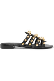 Giant studded textured-leather sandals