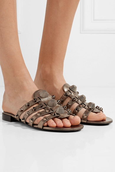 Balenciaga Giant Studded Sandals Made Of Textured Metallic Leather