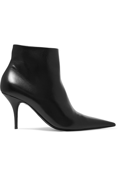 Leather Knife Ankle Boots 80 in Black