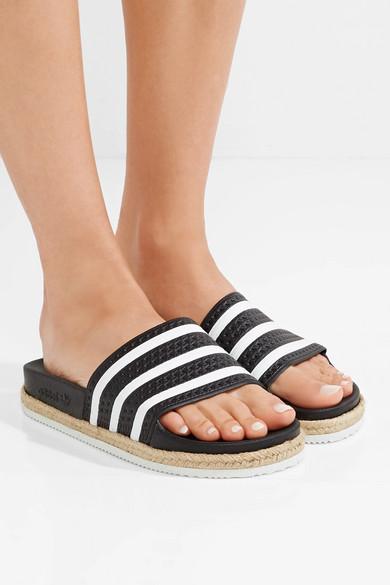 d96aeeb85173 adidas Originals. Adilette Bold rope-trimmed striped rubber slides
