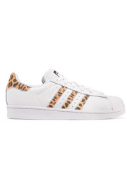 Superstar leopard-print suede-trimmed leather sneakers