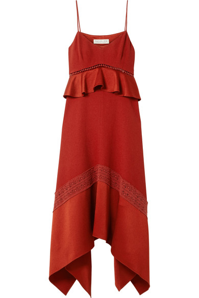 Astrid Crochet And Satin-trimmed Crepe Midi Dress - Brick Rachel Zoe ScSTp6oiE