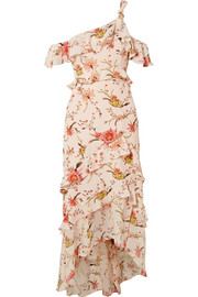 Jillian one-shoulder floral-print silk-georgette midi dress