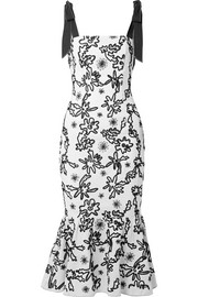 Lily embroidered cotton-gauze midi dress