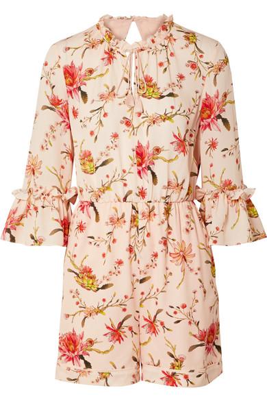 RACHEL ZOE Grace Floral-Print Cutout Silk-Georgette Playsuit in Pastel Pink