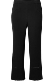 Michelle cropped lattice-trimmed stretch-crepe flared pants