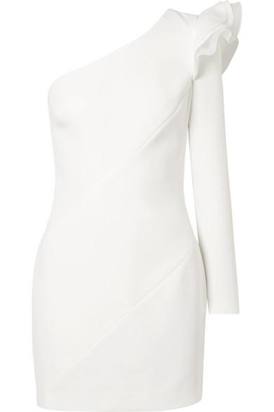 Rachel Zoe Ivy Minikleid aus Crêpe mit Volants und asymmetrischer Schulterpartie
