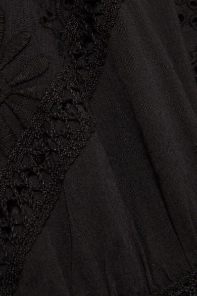 LoveShackFancy Rosalie Maxikleid aus Baumwoll-Voile mit Spitzeneinsätzen