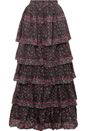 Carmen tiered floral-print cotton maxi skirt