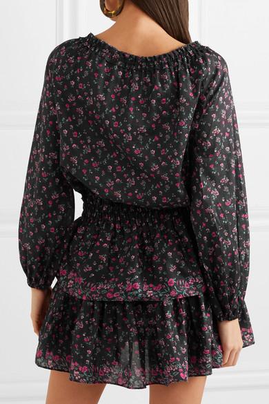 LoveShackFancy Popover gestuftes Minikleid aus floral bedruckter Baumwolle