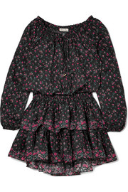 Popover tiered floral-print cotton mini dress