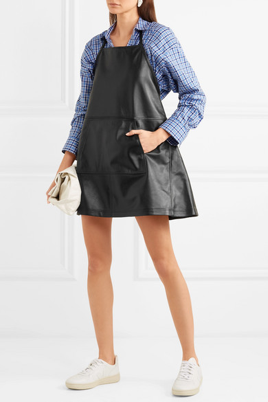 Sandy Liang Apron rückenfreies Minikleid aus Leder