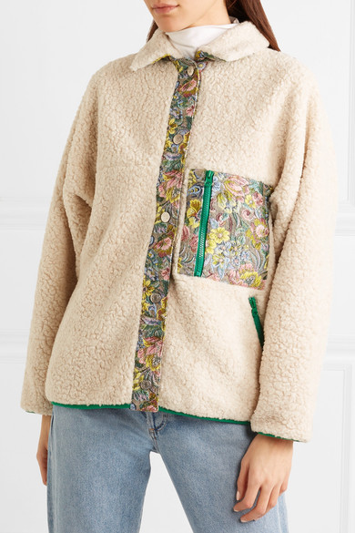 Sandy Liang Bayside Jacke aus Fleece mit Besätzen aus floralem Jacquard