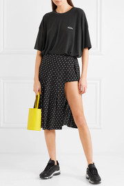 Uniform cutout polk-dot silk-crepe skirt
