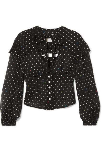 Sandy Liang Keller Bluse aus Seidenchiffon mit Polka-Dots