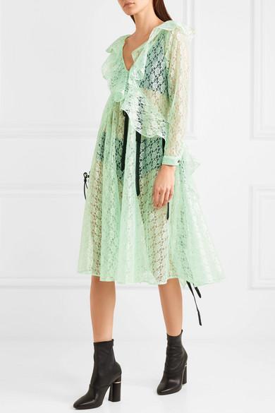 Carmen Ruffled Lace Midi Dress - Mint Sandy Liang ES69tIg