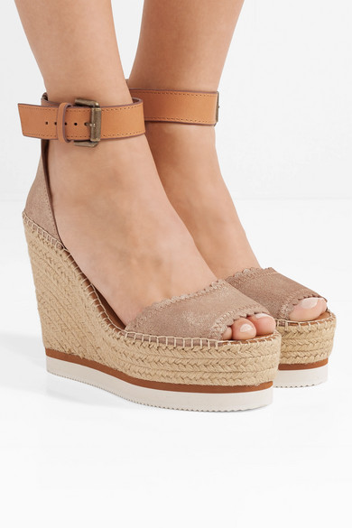 ed5c6028 See By Chloé   Metallic leather espadrille wedge sandals   NET-A ...
