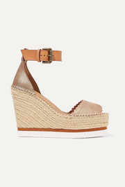 Metallic leather espadrille wedge sandals