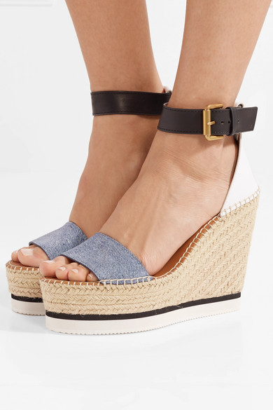 See by Chloé Espadrille-Wedges aus Denim und Leder