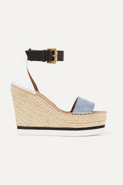 Denim and leather espadrille wedge sandals