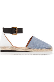 Leather and denim platform espadrilles