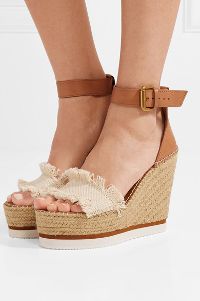 f4ef309ffae0 See By Chloé. Canvas and leather espadrille wedge sandals
