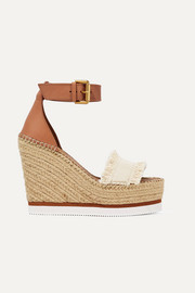 Canvas and leather espadrille wedge sandals