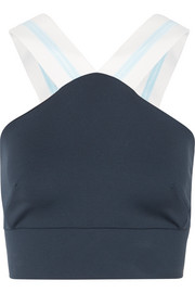 X grosgrain-trimmed stretch sports bra