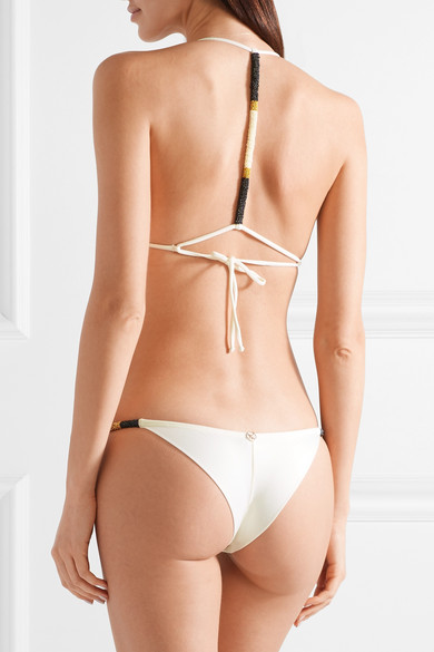 New Styles Cheap Price High Quality Sale Online Ella Bead-embellished Bikini Briefs - Off-white Vix Manchester Great Sale vucgBpT