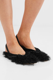 Beaded metallic faux-shearling and leather slingback flats