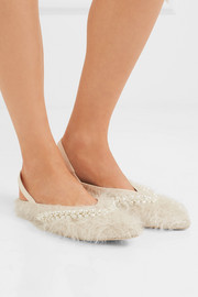 Embellished metallic faux shearling and leather slingback flats