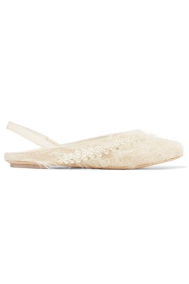 Simone Rocha Flache, verzierte Slingback-Schuhe aus Shearling-Imitat mit Metallic-Effekt und Leder