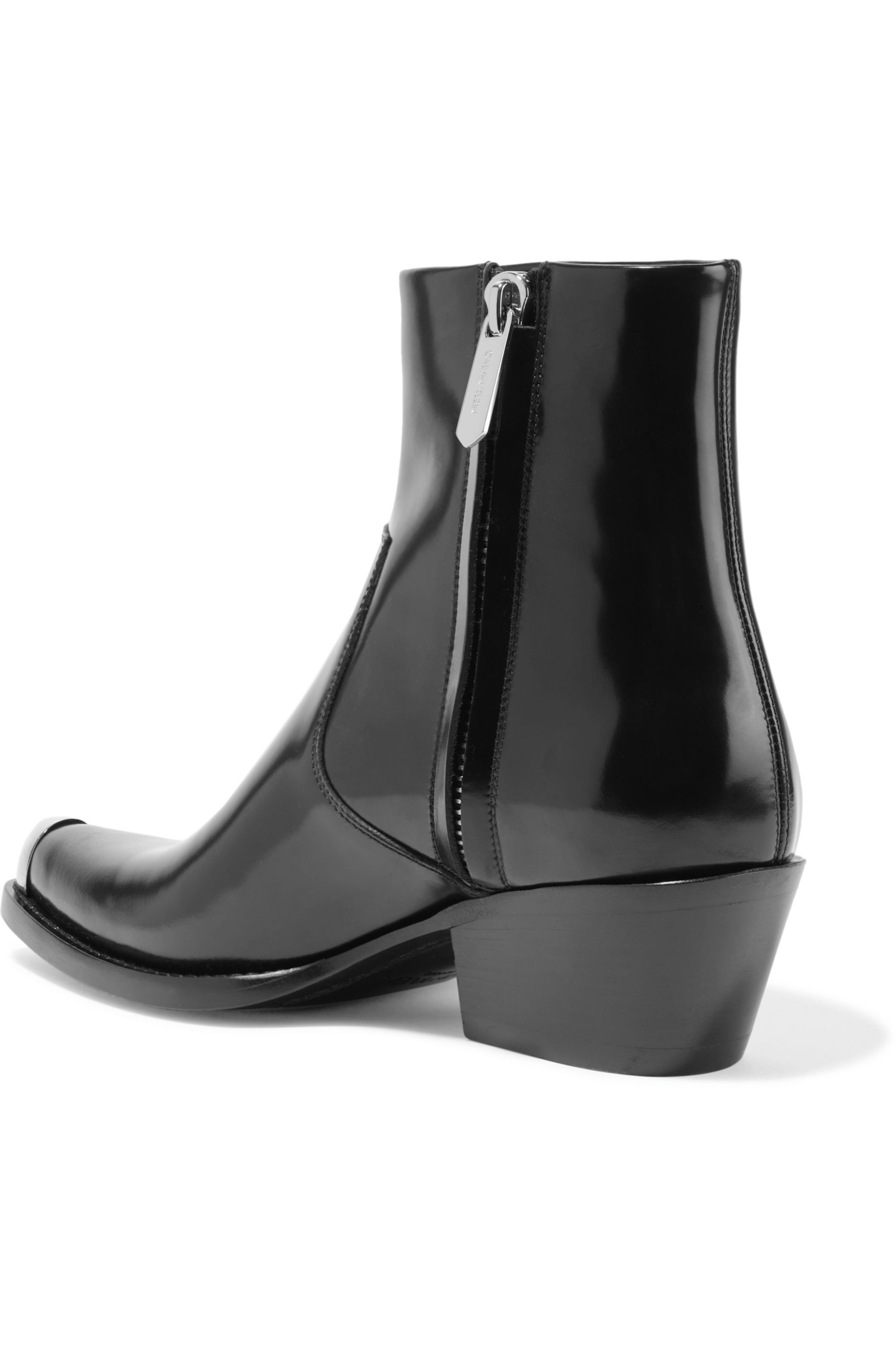 CALVIN KLEIN 205W39NYC Tex Chiara metal-trimmed glossed-leather ankle boots