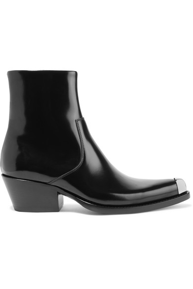 Tex Chiara Metal-Trimmed Glossed-Leather Ankle Boots in Black