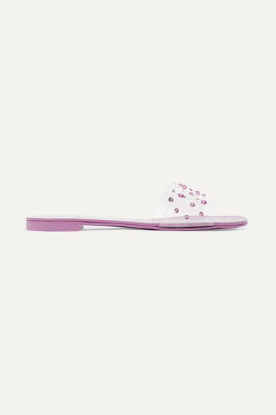 Nuv Crystal-Embellished Leather And Pvc Slides, Lilac