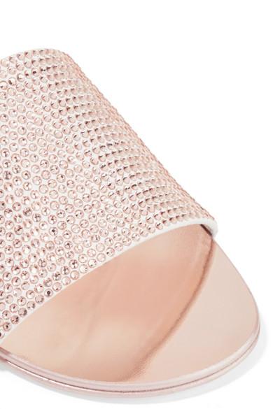 Giuseppe Zanotti | Adelia verspiegeltem kristallverzierte Pantoletten aus Veloursleder und verspiegeltem Adelia Leder a399fb