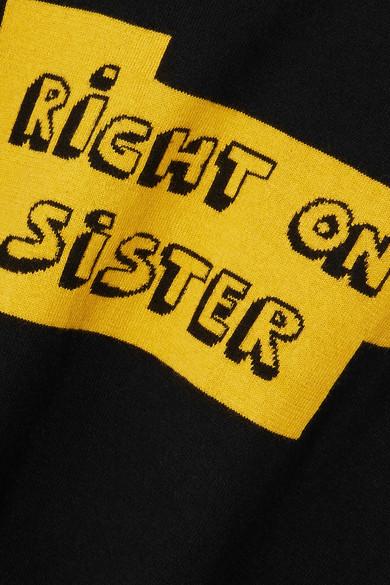 Bella Freud Right On Sister Pullover aus einer Baumwoll-Kaschmirmischung mit Intersienmotiv