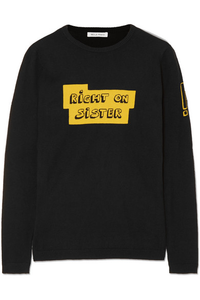 Bella Freud RIGHT ON SISTER INTARSIA COTTON AND CASHMERE-BLEND SWEATER