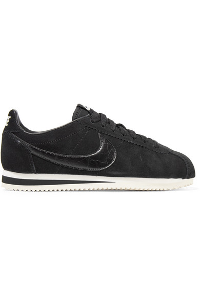 Classic Cortez Leather-Trimmed Suede Sneakers in Black