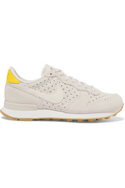 Internationalist perforated leather and suede sneakers