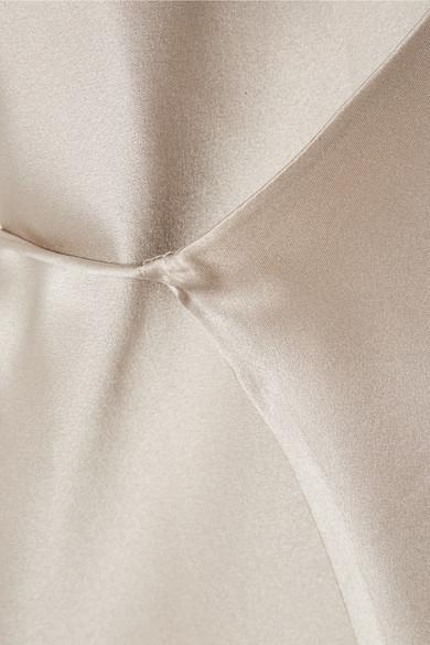 Michelle Mason Robe aus Seiden-Charmeuse mit Wickeleffekt und Kettenträger